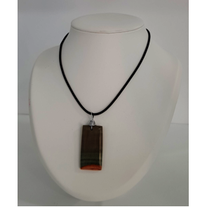 Bijoux Collier avec pierre Jaspe rectangle